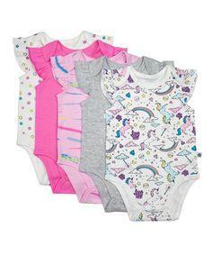 Rosie Pope Baby Pink Unicorn & Gray Bodysuit Set - Infant | zulily