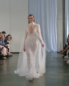 Berta Style Fall Winter 2019 Bridal Couture Collection : Amazing Embroidered Backless Mermaid Wedding Dress / Bridal Gown with V-Neck Cut, Open Back, Small Train and Cape. Fall Winter 2019 Bridal Couture Runway Show Collection by Berta Backless Mermaid Wedding Dresses, Fall Wedding Dresses, Bridal Dresses, Wedding Gowns, Wedding Dress Cape, Turtleneck Wedding Dress, Bridal Cape, Modest Wedding, Elegant Dresses