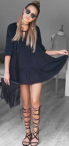 #summer #american #style | Festival Little Black Dress