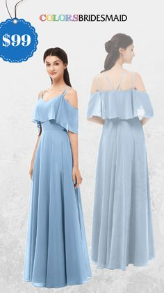 c9f715eb6c4b Dusty Blue chiffon Bridesmaid Dresses 2019- ColsBM Jamie. Floor Length |  Pleated | V