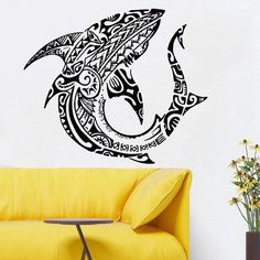 Wall Room Decor Art Vinyl Sticker Mural Decal Pattern Poster Design Styling Interior Pictures Tribal Tattoo Pattern Ocean Shark Fish FI514