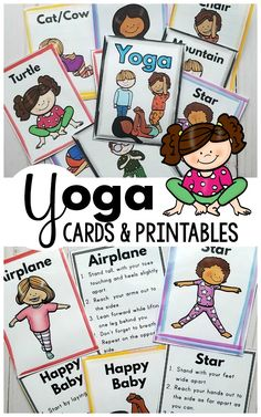 Yoga Printables that are perfect for incorporating yoga into the classroom, home or programming. Yoga for kids has many benefits so try out these fun kids yoga poses today! Yoga Poses For Two, Kids Yoga Poses, Yoga For Kids, Exercise For Kids, Preschool Yoga, Preschool Activities, Counseling Activities, Family Activities, Yoga Inspiration