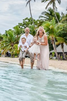 Family photography by the beach in Fiji after the wedding
