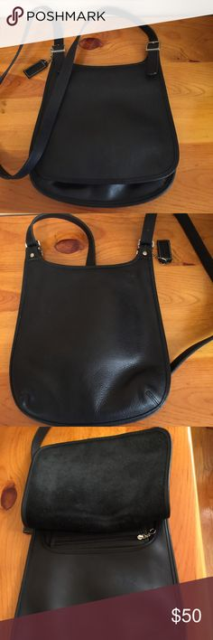Coach black leather Hippie Flap Interior is clean and in excellent used condition. Number A0P-9135 Coach Bags Crossbody Bags