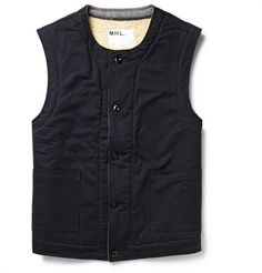Margaret Howell MHL Shearling-Lined Cotton-Twill Gilet