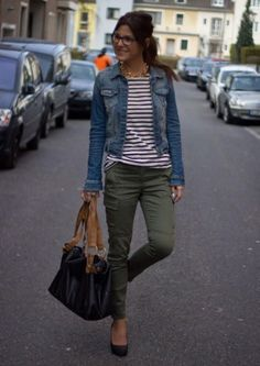 I love stripes with a denim jacket – it's such a classic look and works well paired with cargo jeans.