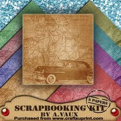 Vintage Map Car Roadtrip 8 Scrapbooking Papers Kit on Craftsuprint - Add To Basket!