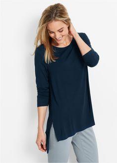 Long-Shirt mit Schlitzen dunkelblau - bpc bonprix collection jetzt im Online Shop von bonprix.de ab ? 17,99 bestellen. Vorne etwas k�rzer als hinten und mit ...