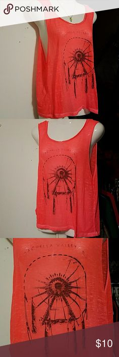 Coachella Valley CA, dreamcatcher tank Coral colored, sheer tank, XL worn once. Tops Tank Tops