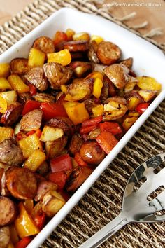 sausage, potato & peppers healthy skillet Sausage Potato Pepper Recipe Substitute sweet potato to make Whole 30 compliant.Sausage Potato Pepper Recipe Substitute sweet potato to make Whole 30 compliant. Potato Recipes, Pork Recipes, Cooking Recipes, Healthy Recipes, Skillet Recipes, Chicken Sausage Recipes, Pineapple Bacon Sausage Recipe, Trader Joes Chicken Sausage, Linguica Recipes