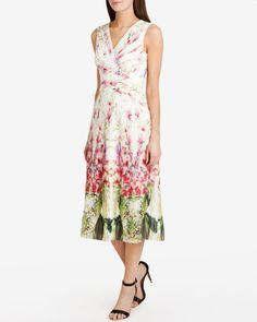 Mirrored tropics pleated midi dress - Ivory | Dresses | Ted Baker UK