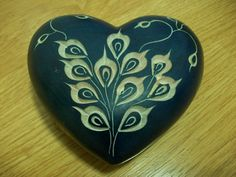 Blue Stone Heart Paperweight, Carved Blue and White Floral Paperweight, Heart Home Decor