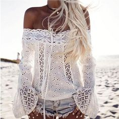 Beach Slash Neck Solid Lace Floral Off Shoulder Hollow Out Sexy Lace-up Flare Long Sleeves