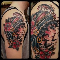 illustratedgentleman: Classic gypsy on a cool cat! #matthouston... - Collection Of Tattoo Ideas and Designs