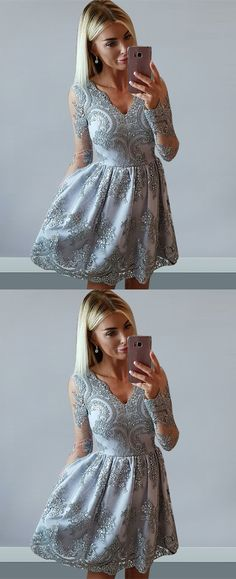 simple fashion grey homecoming dresses with appliques, cheap a-line short prom dresses, semi formal dresses.