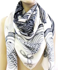 Hermes Brandebourgs Black White Cashmere Silk Shawl Scarf GM 140cm | From a collection of rare vintage scarves at https://www.1stdibs.com/fashion/accessories/scarves/