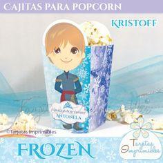 Caja para golosinas y popcorn Kristoff de Frozen, la película animada de Disney. Contiene texto para editar y explicación para imprimir facil en tu casa.