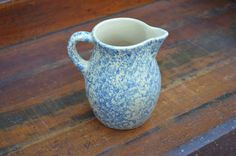 ✿  bluefolkhome on etsy✿ Blue Spongeware Pitcher Small Blue Pitcher RRP Roseville Ohio Pottery Rustic Farmhouse I Ship Internationally