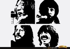 The Beatles Let It Be silhouettes of faces of four band members. This is a nice design to use in any digital material for fans or in t-shirts, posters, etc. High quality JPG included. Under Commons 4.0. Attribution License.