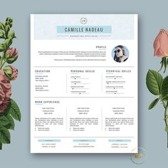 Resume Template 3 page and FREE Cover Letter. Modern CV Template for MS Word and Pages by BotanicaPaperieShop