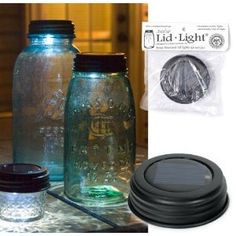 Neat way to recycle old blue canning jars and use as a light in your garden or deck or window sill light.