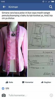 Kebaya Batik Fashion, Fashion Sewing, Pola Kebaya Kutubaru, Blouse Patterns, Clothing Patterns, Mode Batik, Modern Kebaya, Batik Kebaya, Sewing Blouses