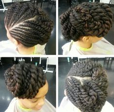 Twirl and curl flat twist undo on natural hair.