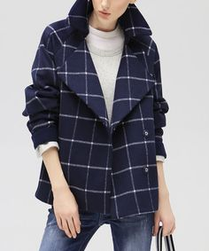 Look at this #zulilyfind! Navy Windowpane Peacoat #zulilyfinds