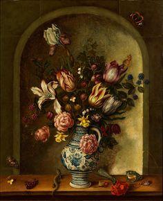 BLUMENSTILLLEBEN IN GEMALTER MAUERNISCHE Öl auf Kupfer. 51 x 41 cm. Links unten Monogramm. Das Blumengesteck mit gefiederten Tulpen, Rosen, Schwertlilien und...