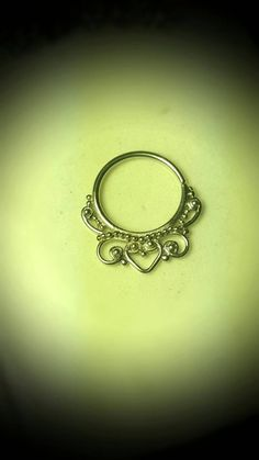"Shaped Sterling Silver 925 Septum Clicker Cartilage Jewelry Captive Hoop 18g 7/16"" Daith Piercing Earring Ring Nose Filigree Victorian"