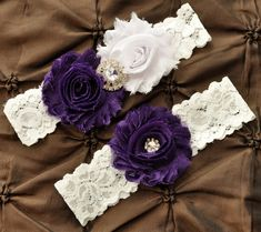 Wedding Garter Set, Bridal Garter Set - White Lace Garter, Keepsake Garter, Toss Garter, Shabby Chiffon Rosette White Purple Wedding Garter on Etsy, $22.00