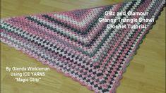 Glitz and Glamour Triangle Granny Shawl - Crochet Tutorial - Ice Yarns Magic Glitz Granny Square Bag, Crochet Granny Square Afghan, Granny Granny, Square Blanket, Crochet Prayer Shawls, Crochet Shawl, Crochet Stitches, Crochet Cover Up, Easy Crochet