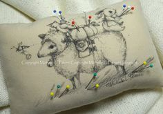 Rectangle Soft Sculpture Pincushion Pillow Ornament Pen Ink Fabric Illustration by Michelle Palmer Sheep Sewing Class Sparrow Bunny Bee