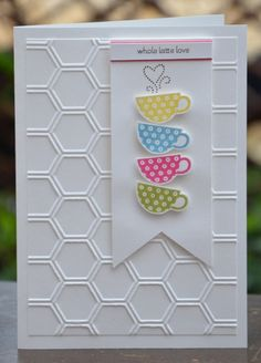 Patterned Occasions stamp set, honeycomb emb. folder, daffodil delight, pool party, melon mambo and lucky limeade ink pads, white card stock