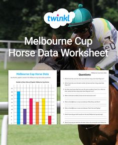 This is a great Melbourne Cup data sheet to develop school students' understanding of reading and interpreting data. Features a data chart & questions to answer. Fun Math, Maths, Melbourne Cup Horses, Comprehension Activities, Bar Graphs, Data Charts, Classroom Displays, Task Cards