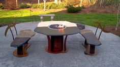 Fire Pit Dining Table with Benches Dining Table With Bench, Dining Tables, Fire Pit Table, Outdoor Furniture, Outdoor Decor, Benches, Google, Home Decor, Image