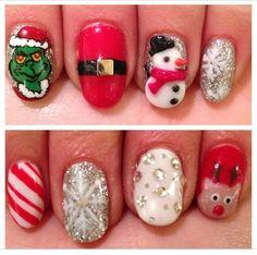 Christmas nails : grinch : candy came : Santa clause