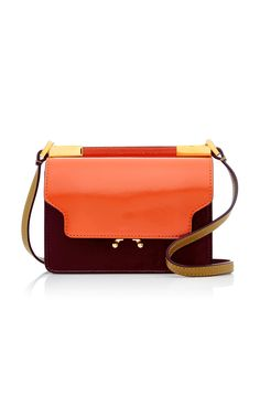 Patent-Trimmed Leather Shoulder Bag by MARNI Now Available on Moda Operandi