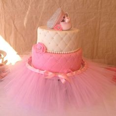 Quilted baby shower cake with bling ballerina shoes