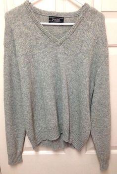 Jantzen Sweater Mens  Solid Gray V Neck Large Grey Acrylic Long Sleeves  #Jantzen #VNeck #sweater