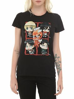 Attack On Titan Chibi Group Girls T-Shirt | Hot Topic