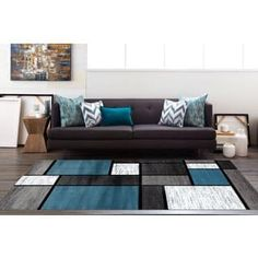 Osti Modern Boxes Blue Black Grey Contemporary Area Rug 53 X 73 with regard to Blue Living Room Rug - Home Design Ideas Teal Living Rooms, Rugs In Living Room, Modern Area Rugs, Contemporary Area Rugs, Room Rugs, Online Home Decor Stores, Modern Interior Design, Cheap Home Decor, Bunt