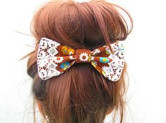 Hair bow clip made with cute japanese kawaii fabric and lace