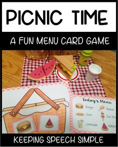 Vocabulary Games for Early Learners - Picnic Themed Picnic Activities, Graphing Activities, Spelling Activities, Vocabulary Games, Preschool Themes, Speech Therapy Activities, Preschool Lessons, Summer Activities For Kids, Language Activities