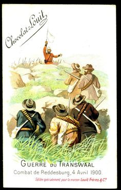 """Chocolate Louit """"The Transvaal War"""" Boer War) Battle of Reddesburg, April 1900 - Surrender of the Royal Irish Rifles to General De Wet Vintage Dance, Toy Soldiers, British Army, Dance Music, Cigarette Box, African, War, Armies, Cowboys"""