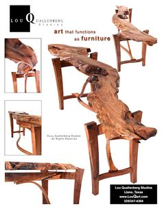 Mesquite Furniture: Sculpted Live Edge Table by Lou Quallenberg