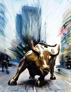 "Andrea Del Pesco; Oil, Painting ""WALL STREET BULL OF NEW YORK"""