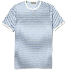 CanaliStriped Cotton-Jersey Henley T-Shirt