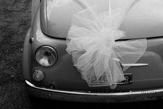 Wedding Car, vintage Fiat 500, classic. Wedding bow. Black and white