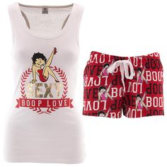 Betty Boop Sexy White Red Shorty Pajamas for Women - Click to enlarge